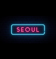 seoul neon sign bright light signboard banner vector image vector image