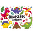 set isolated cute dinosaurs part 1 vector image vector image