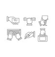 set of linear business icons hand with vector image