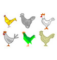 set rooster outline 2 vector image vector image