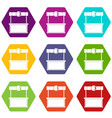 shopping counter icon set color hexahedron vector image vector image