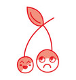 silhouette kawaii cute happy and sad strawberry vector image vector image