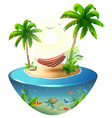striped hammock between palm trees on tropical vector image vector image