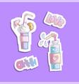 sweet cartoon cocktails sticker vector image