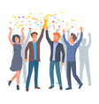 team of colleagues celebrate win in startup vector image vector image