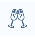 Two glasses with champaign sketch icon vector image vector image