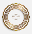 vintage round frame with gold border pattern vector image vector image