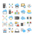 web hosting and cloud technology flat set vector image