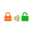wireless unlocking lock icon smart lock system vector image