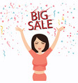 woman happy big sale text face smile celebrate vector image