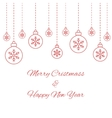Hanging baubles with snowflakes vector image