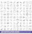100 notification icons set outline style vector image