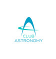 astronomy symbol for science club emblem design vector image vector image