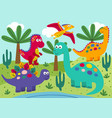 basic rgbcute dinosaurs with landscape background vector image