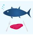 big tuna fish and tuna meat food eps10 vector image