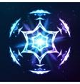 Blue shining cosmic abstract snowflake vector image vector image