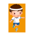 Boy in football player uniform vector image vector image