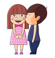 boy kissing girl valentine vector image vector image
