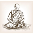 Buddhist monk sketch style vector image vector image