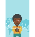 Businessman using smartphone vector image vector image