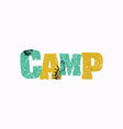 camp concept colorful stamped word vector image vector image