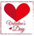card design for valentines day with red heart vector image