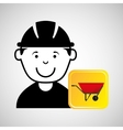 construction worker wheelbarrow graphic vector image vector image