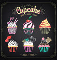 cupcake collection chalking freehand drawing vector image vector image