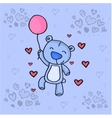 Cute bear with love background vector image vector image
