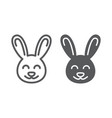 cute bunny line and glyph icon easter and holiday vector image vector image