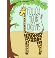 Cute postcard with cartoon giraffe vector image vector image