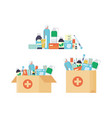 delivery pharmacy service open cardboard box vector image vector image