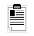 documents on clipboard symbol isolated in black vector image vector image