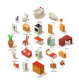 domestic furniture icons set isometric style vector image vector image