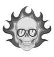flaming skull icon monochrome vector image