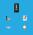 flat icon lifestyle set of timer lunch router vector image vector image