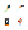 flat icon smartphone set of keep phone chatting vector image vector image