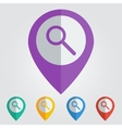 flat pin with search icon vector image