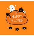 Ghost pumpkin eyeball hanging spiders Halloween vector image vector image