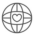 global heart love icon outline style vector image vector image