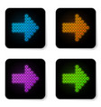 glowing neon dots arrow icon isolated on white vector image