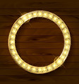 gold round frame on wooden background vector image vector image