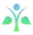 halftone blue-green ecology man icon vector image vector image