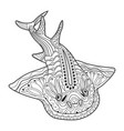 hand-drawn shark with ethnic doodle coloring page vector image