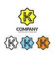 letter k with geometric octagon color logo vector image vector image