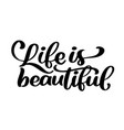 life is beautiful - hand lettering inscription vector image