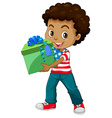 Little boy holding a present box vector image