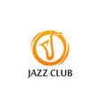 logo for jazz club in golden color with sax vector image