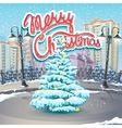 Merry Christmas with a vector image vector image