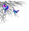multi-colored birds sitting on tree branches vector image vector image